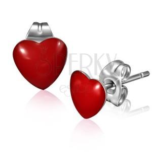 Puzetové náušnice z chirurgickej ocele - lesklé červené srdce