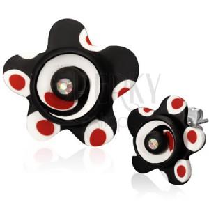 FIMO náušnice - čierny kvet s bodkami, zirkón, puzetky
