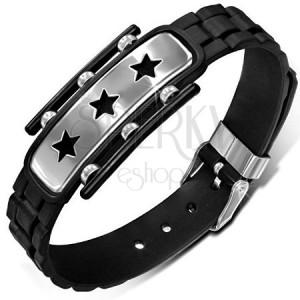 Čierny gumený náramok, známka s hviezdami, členitý remienok
