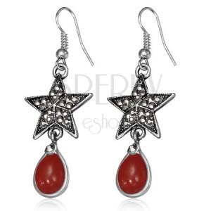 Kovové náušnice - pätcípa hviezda so zirkónmi a červený kameň