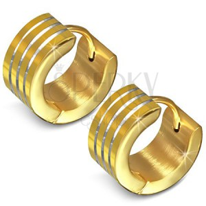 Zlaté oceľové náušnice, kruh s tromi rovnobežnými ryhami