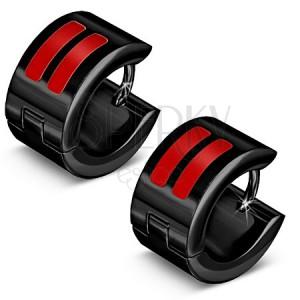 Lesklé čierne oceľové náušnice, červené glazúrované pásiky