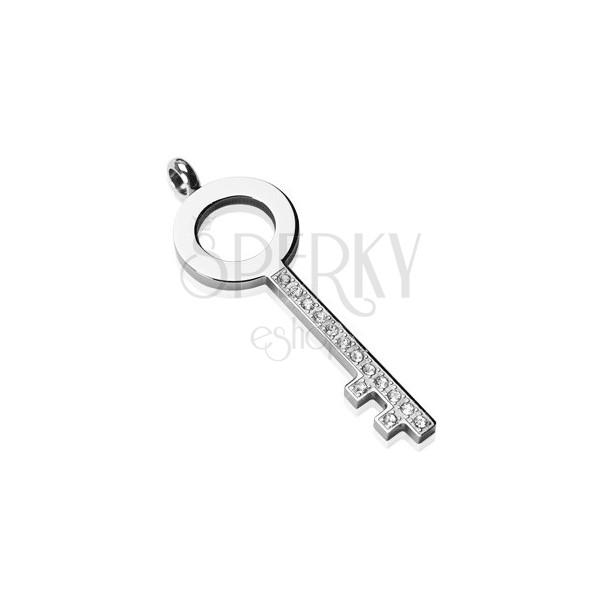 Oceľový prívesok - jednoduchý kľúč so zirkónmi