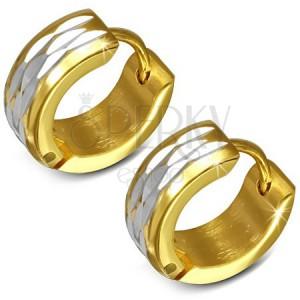 Lesklé náušnice z ocele zlatej farby - krúžky s ryhami striebornej farby