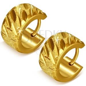Pieskované kruhy zlatej farby z ocele s ryhami