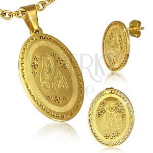 Sada z ocele - prívesok a puzetky zlatej farby, Panna Mária, grécky motív