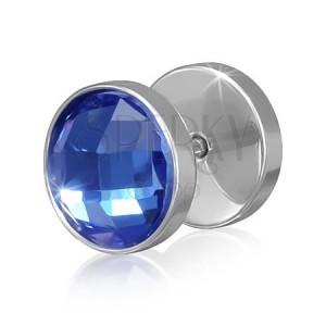 Fake plug z ocele striebornej farby - modrý okrúhly brúsený zirkón