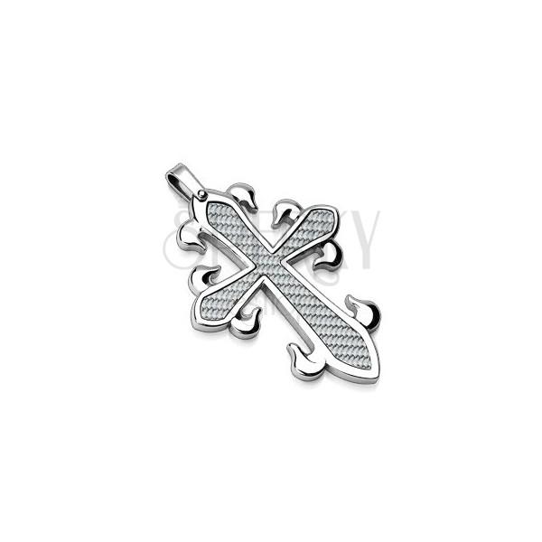 Prívesok z chirurgickej ocele - kríž s prepleteným vzorom