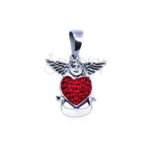 Strieborný prívesok 925 - anjel nad červeným srdcom so stuhou