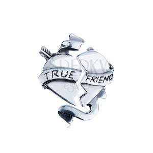 """Dvojitý strieborný prívesok 925 - zlomené srdce so stuhou """"TRUE FRIEND"""""""