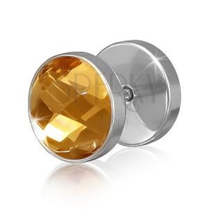 Okrúhly oceľový fake piercing do ucha s hnedo-zlatým zirkónom