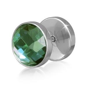 Falošný piercing do ucha z ocele, okrúhly so zeleným zirkónom