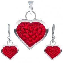 Strieborná sada 925, náušnice a prívesok, červené zirkónové srdce
