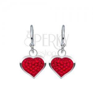 Strieborné náušnice 925 - lesklé červené srdce vykladané zirkónmi