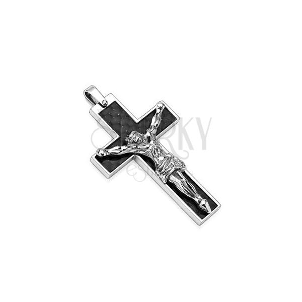 Prívesok z ocele čierny kríž a Ježiš striebornej farby