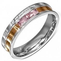 Šperky eshop - Oceľová obrúčka, ružové zirkóny, gravírované vyznanie lásky B8.05 - Veľkosť: 49 mm