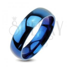 Modrá kovová obrúčka - hladký prsteň so zrkadlovým leskom