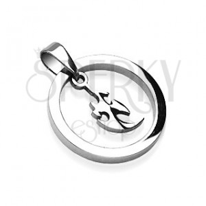 Prívesok z ocele hrubý kruh s malým čínskym ornamentom