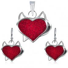Strieborný set 925 prívesku a náušníc - červené zirkónové srdce, čertík