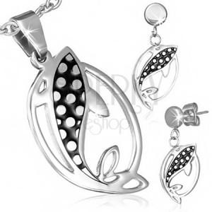 Sada šperkov z ocele - náušnice a prívesok, rybky