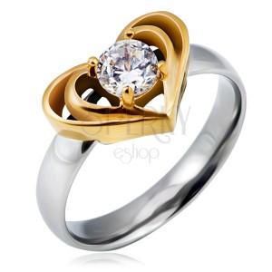 Oceľový prsteň striebornej farby s dvojitým srdcom zlatej farby, číry zirkón