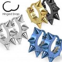 Šperky eshop - Farebné oceľové náušnice, lesklé kruhy s ostrými špicami AB20.03 - Farba: Zlatá