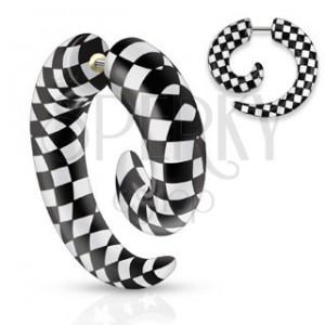 Falošný akrylový expander do ucha, špirála s čierno-bielou šachovnicou