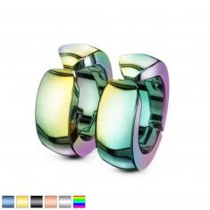 Šperky eshop - Hladké farebné oceľové náušnice, lesklé klipsňové kruhy Z26.06 - Farba: Zlatá