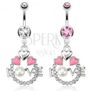 Oceľový piercing do pupku - kruh, srdcia, nápis LOVE s perlou