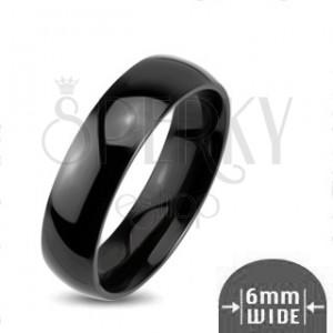 Lesklý kovový prsteň - hladká zaoblená obrúčka čiernej farby