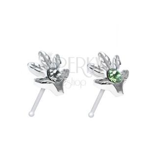 Strieborný 925 piercing do nosa s listom marihuany a zirkónom