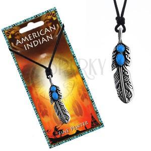 Šnúrkový náhrdelník s indiánskym pierkom a modrými očkami