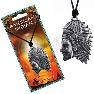 Čierny náhrdelník - šnúrka a lesklý kovový prívesok Indiána
