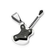 Prívesok z ocele - čierna malá gitara