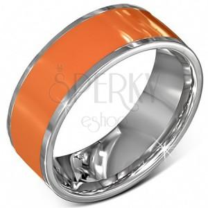Hladká oceľová obrúčka v oranžovej farbe s okrajom striebornej farby