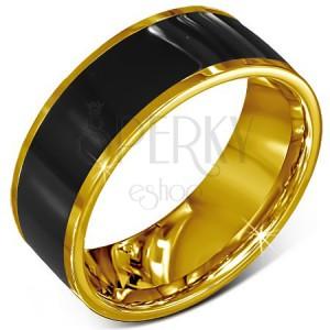 Prsteň z chirurgickej ocele - hladká čierna obrúčka, lem zlatej farby