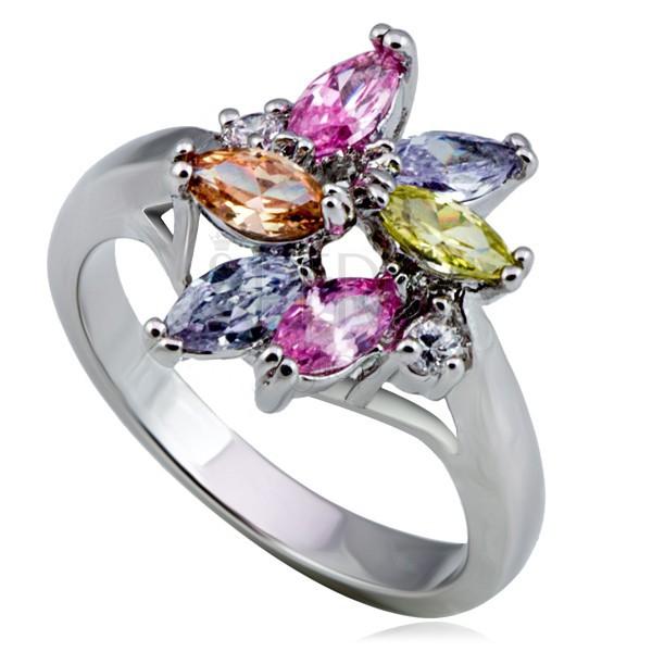 Lesklý kovový prsteň - kvet, farebné slzičkové a okrúhle zirkóny