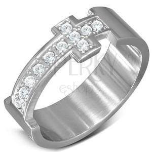 Oceľový prsteň - obrúčka striebornej farby a zirkónový latinský kríž