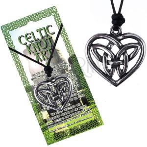 Šnúrkový náhrdelník, čierny, lesklý kovový keltský uzol v srdci