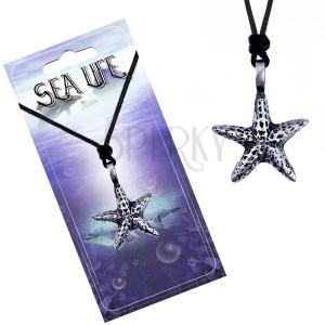 Šnúrka a kovový prívesok - fľakatá morská hviezdica