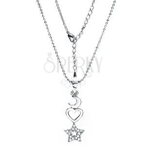 Ródiovaná retiazka a prívesok mesiac, srdce a zirkónová hviezda