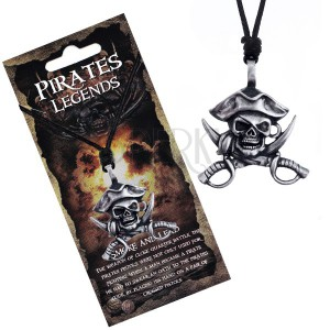 Čierny náhrdelník - kovová lebka piráta s klobúkom a mečmi