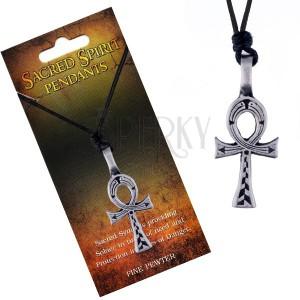 Šnúrkový náhrdelník - čierny, kovový prívesok egyptského kríža
