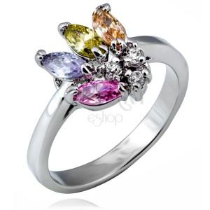 Lesklý prsteň z kovu - vejár farebných zrnkových zirkónov