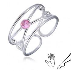 Šperky eshop - Prsteň zo striebra 925 - okrúhly ružový zirkón, zdvojená slučka AC1.27