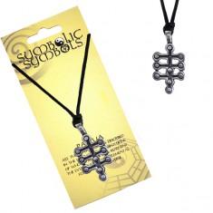 Šperky eshop - Čierna šnúrka na krk a kovový prívesok - strom života AC2.08