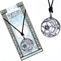 Šperky eshop - Náhrdelník - čierna šnúrka a kovový strom druidov, pentagram AC2.11