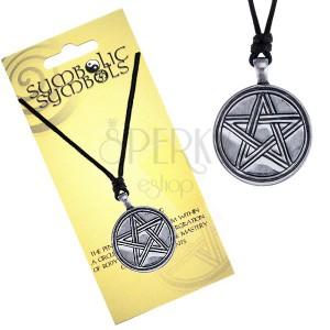 Náhrdelník - šnúrka a kovový kruh, vyrezávaný pentagram
