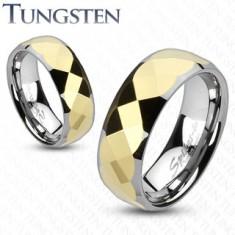 Volfrámový prsteň - dvojfarebný, zlatý geometricky brúsený stred