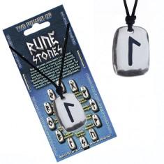 Šperky eshop - Náhrdelník na krk so šnúrkou a kovovým štítkom, runa Laguz AC2.28